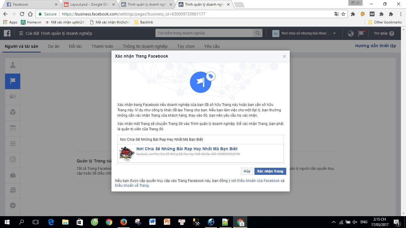 xác nhận doanh nghiệp trên facebook
